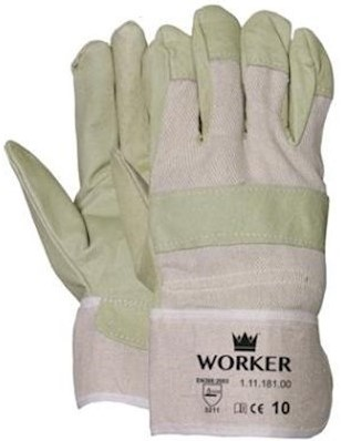 Varkensnerflederen handschoen met ecru doek
