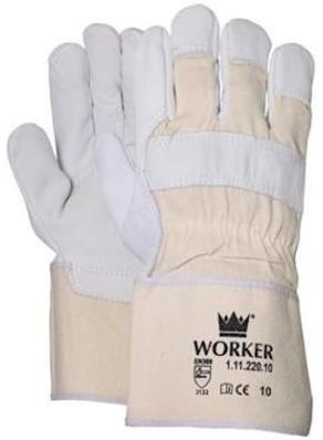 Nerflederen handschoen met 10 cm canvas écru kap