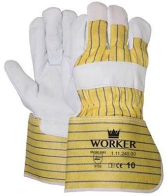 Nerflederen handschoen met gerubberiseerde gele kap - 10
