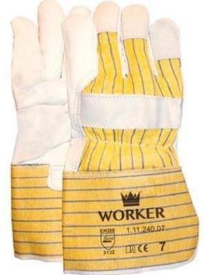 Nerflederen handschoen met gerubberiseerde gele kap