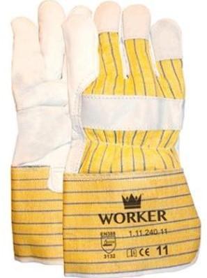 Nerflederen handschoen met gerubberiseerde gele kap - 11