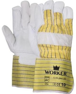 Nerflederen handschoen met gerubberiseerde gele kap en pistoolversterking