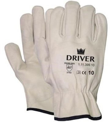 Nerflederen crème kleurige officiershandschoen - 7
