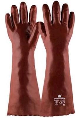 Handschoen PVC rood, 450 mm