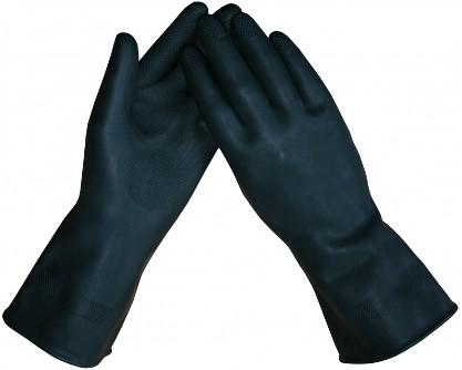 Werkhandschoen Latex zwart vlokvoering 32cm