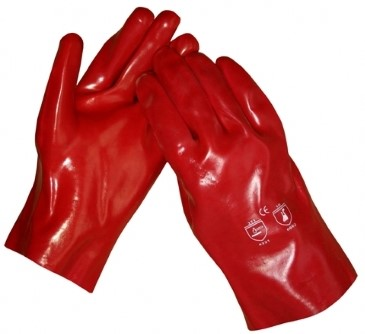 Werkhandschoenen PVC rood 27cm