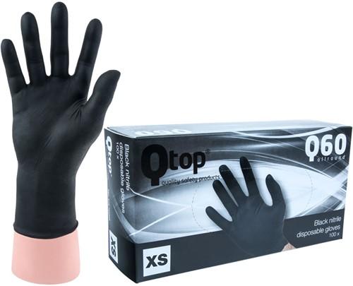 Qtop Q40 Zwarte Nitrile Handschoenen - 6/xs
