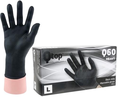 Qtop Q60 Heavy Nitril Zwarte Handschoenen - 9/l